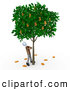 Royalty Free Stock Illustration of a Man Shaking a Tree That Grows Dollars by 3poD