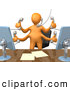 Royalty Free Stock Illustration of a Multitasking Busy Orange Employee Standing in Front of Their Desk Chair, Two Computer Screens and Papers on Their Desk Taking Multiple Phone Calls at Once by 3poD