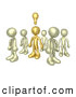Royalty Free Stock Illustration of a One Friendly Brass Person in a Group of Gold People, Thinking up a Creative Idea, with a Lightbulb over His Head by 3poD