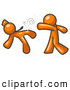 Royalty Free Stock Illustration of a Orange Man Being Punched by Another Rude Person by Leo Blanchette