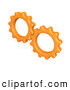 Royalty Free Stock Illustration of a Pair of Orange Working Cogs Turning Gears Together by 3poD