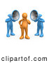 Royalty Free Stock Illustration of a Pair of Two Blue Megaphone Headed People Shouting at an Orange Person, Trying to Influence His Beliefs by 3poD