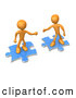 Royalty Free Stock Illustration of a Pair of Two Orange People on Blue Puzzle Pieces, Reaching out for Eachother to Connect, Symbolizing a Connection, Link Exchange and Teamwork by 3poD