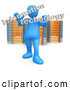 "Royalty Free Stock Illustration of a Professional Blue Person Holding Words Reading ""Information Technology"" and Standing in Front of Orange and Silver Server Racks by 3poD"