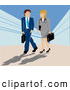 Royalty Free Stock Illustration of a Professional Caucasian Man and Woman Carrying Briefcases and Chatting While on Their Way into a Building by Vitmary Rodriguez