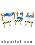 Royalty Free Stock Illustration of a Professional Construction Zone of Orange Men Carrying Http, Www, and Com Letters by 3poD