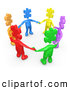 Royalty Free Stock Illustration of a Professional Group of Colorful and Diverse People with Puzzle Piece Heads, Standing in a Circle and Holding Hands by 3poD