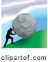 Royalty Free Stock Illustration of a Professional Strong Business Man Pushing a Boulder up a Hill by AtStockIllustration