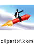 Royalty Free Stock Illustration of a Professional Successful Businessman Riding a Rocket Through the Sky by AtStockIllustration