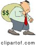 Royalty Free Stock Illustration of a Selfish Greedy Businessman Carrying a Heavy Sack of Money on His Back by Djart