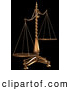 Royalty Free Stock Illustration of a Set of Brass Scales of Justice off Balance, Symbolizing Injustice, on a Black Background by Anastasiya Maksymenko