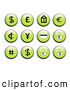 Royalty Free Stock Illustration of a Set of Shiny Green Financial Icon Buttons with Black and White Icons Including a Dollar Sign, Euro Sign, and Money Bags by Rasmussen Images