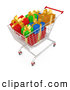 Royalty Free Stock Illustration of a Shopping Cart Full of Wrapped Christmas Presents in a Store on White by 3poD