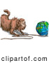 Royalty Free Stock Illustration of a Strange Fat Cat Pulling String off of the World by AtStockIllustration