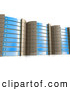 Royalty Free Stock Illustration of a Tall Row of Powerful Blue Server Racks Hosting Services to Customers by 3poD
