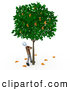 Royalty Free Stock Illustration of a Tall Tree That Grows Euros by 3poD
