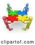 Royalty Free Stock Illustration of a Team of Friendly Diverse People Holding up Connected Pieces to a Colorful Puzzle, Symbolizing Excellent Teamwork, Success and Link Exchanging by 3poD