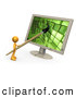 Royalty Free Stock Illustration of a Tiny Orange Person, a Cartoonist or Web Designer, Using a Paintbrush on a Flat Screen Computer Monitor to Create an Image or to Design a Website by 3poD