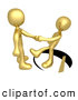 Royalty Free Stock Illustration of a Trusting Gold Man Shaking Hands on a Deal with Another Man As a Saw Cuts a Circle out from Under Him and He Slips by 3poD