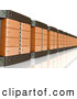 Royalty Free Stock Illustration of a Wall of Orange Computer Server Towers on a Reflective White Surface by 3poD
