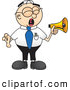 Royalty Free Stock Illustration of a Yelling Loud Male Caucasian Office Nerd Business Man Mascot Character Screaming into a Megaphone by Toons4Biz
