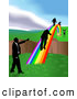 Royalty Free Stock Illustration of Professional Men Walking on a Rainbow to Cross a Ravine by AtStockIllustration