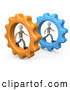 Royalty Free Stock Illustration of Two Imaginative Businessmen in Cogs, Racing Eachother, Symbolizing Competition by 3poD